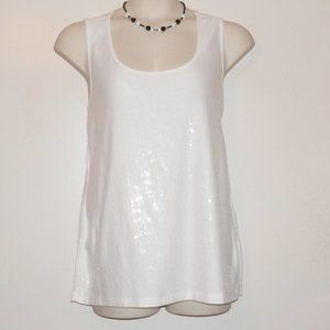 Maurices 2X White Sequin Slvless Sparkle Top H259